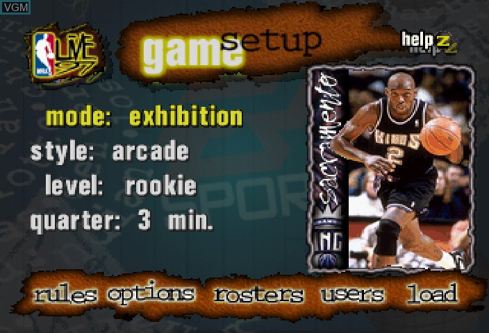 Image du menu du jeu NBA Live 97 sur Sega Saturn