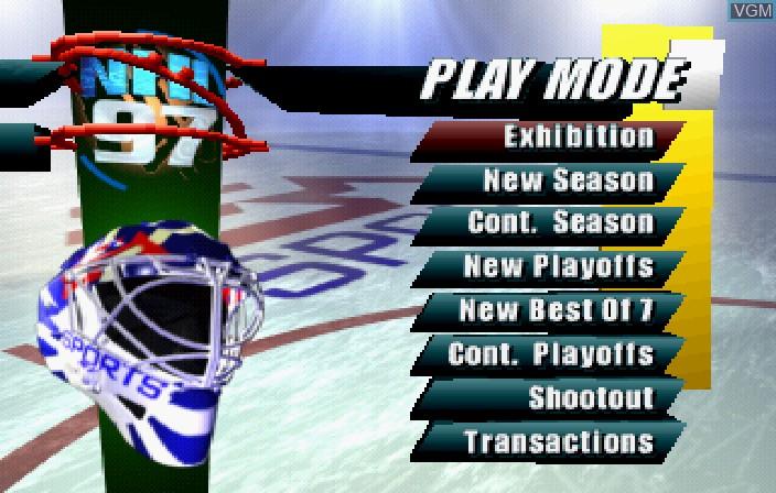 Image du menu du jeu NHL 97 sur Sega Saturn