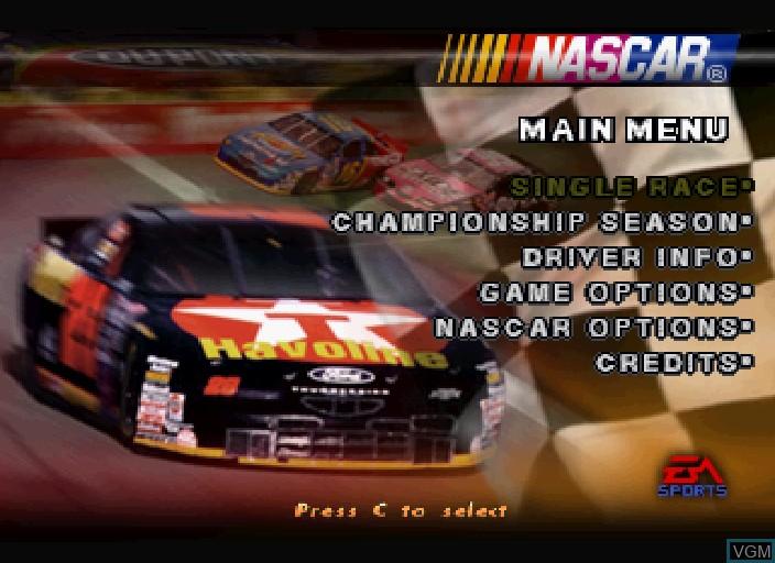 Image du menu du jeu NASCAR '98 sur Sega Saturn