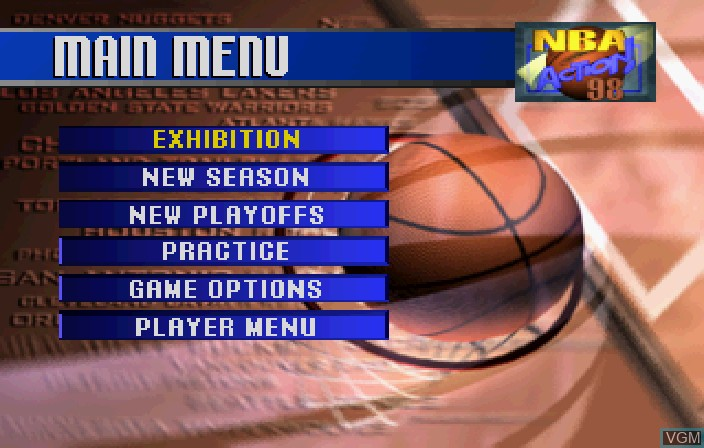Image du menu du jeu NBA Action '98 sur Sega Saturn