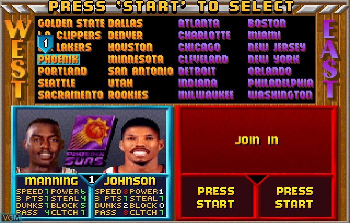 Image du menu du jeu NBA Jam Tournament Edition sur Sega Saturn