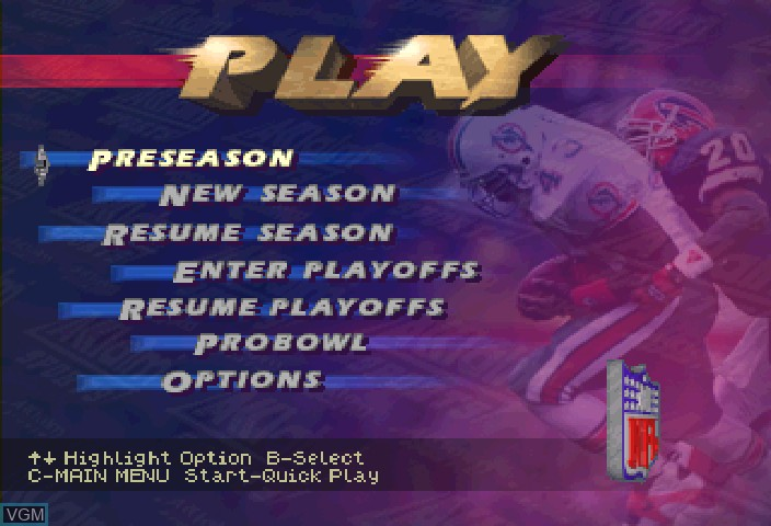 Image du menu du jeu NFL Quarterback Club '96 sur Sega Saturn