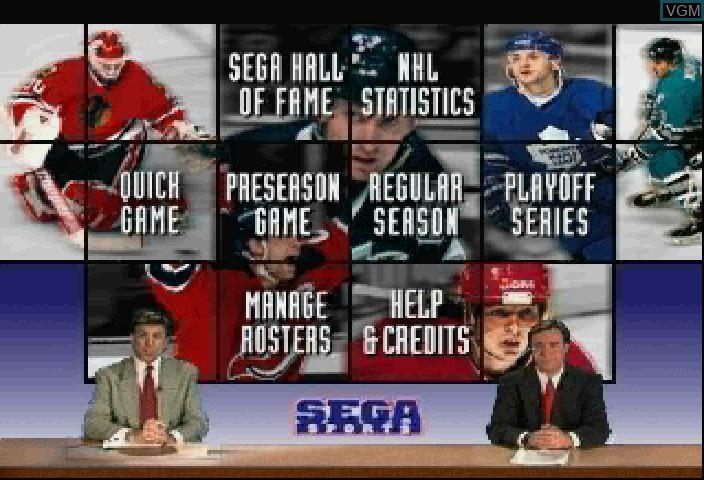 Image du menu du jeu NHL All-Star Hockey sur Sega Saturn