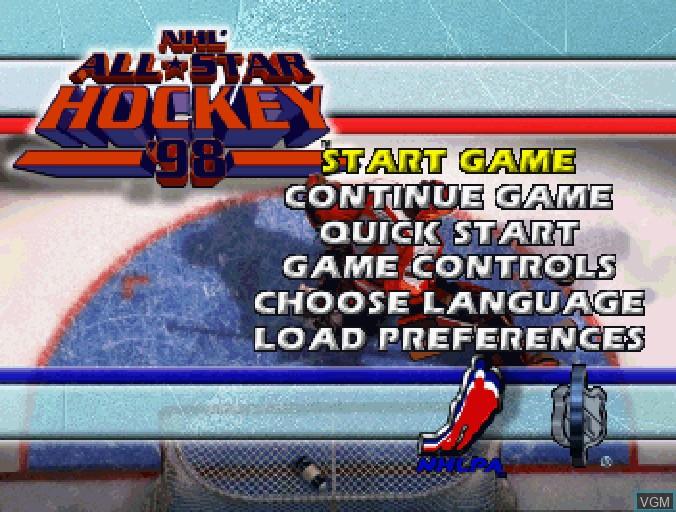 Image du menu du jeu NHL All-Star Hockey '98 sur Sega Saturn