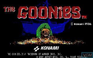 Image de l'ecran titre du jeu Goonies, The sur Sharp X1