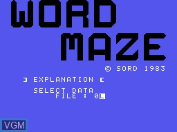 Image de l'ecran titre du jeu Word Maze sur Sord-M5