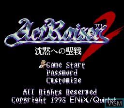 Image de l'ecran titre du jeu ActRaiser 2 - Chinmoku e no Seisen sur Nintendo Super NES