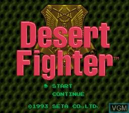 Image de l'ecran titre du jeu Desert Fighter - Suna no Arashi Sakusen sur Nintendo Super NES
