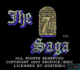 Image de l'ecran titre du jeu 7th Saga, The sur Nintendo Super NES