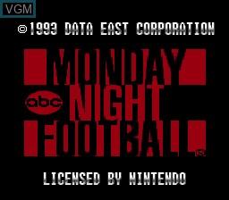 Image de l'ecran titre du jeu ABC Monday Night Football sur Nintendo Super NES