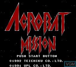 Image de l'ecran titre du jeu Acrobat Mission sur Nintendo Super NES