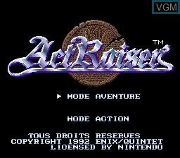 Image de l'ecran titre du jeu ActRaiser sur Nintendo Super NES