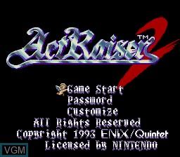 Image de l'ecran titre du jeu ActRaiser 2 sur Nintendo Super NES