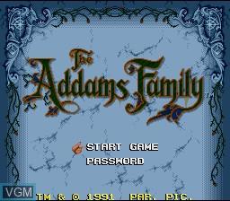 Image de l'ecran titre du jeu Addams Family, The sur Nintendo Super NES