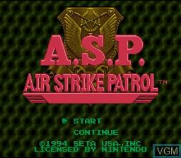 Image de l'ecran titre du jeu A.S.P. Air Strike Patrol sur Nintendo Super NES