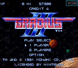 Image de l'ecran titre du jeu Gradius III sur Nintendo Super NES