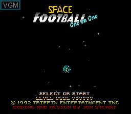 Image de l'ecran titre du jeu Space Football - One on One sur Nintendo Super NES