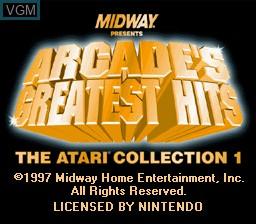 Image de l'ecran titre du jeu Arcade's Greatest Hits - The Atari Collection 1 sur Nintendo Super NES