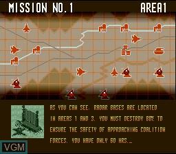 Image du menu du jeu A.S.P. Air Strike Patrol sur Nintendo Super NES