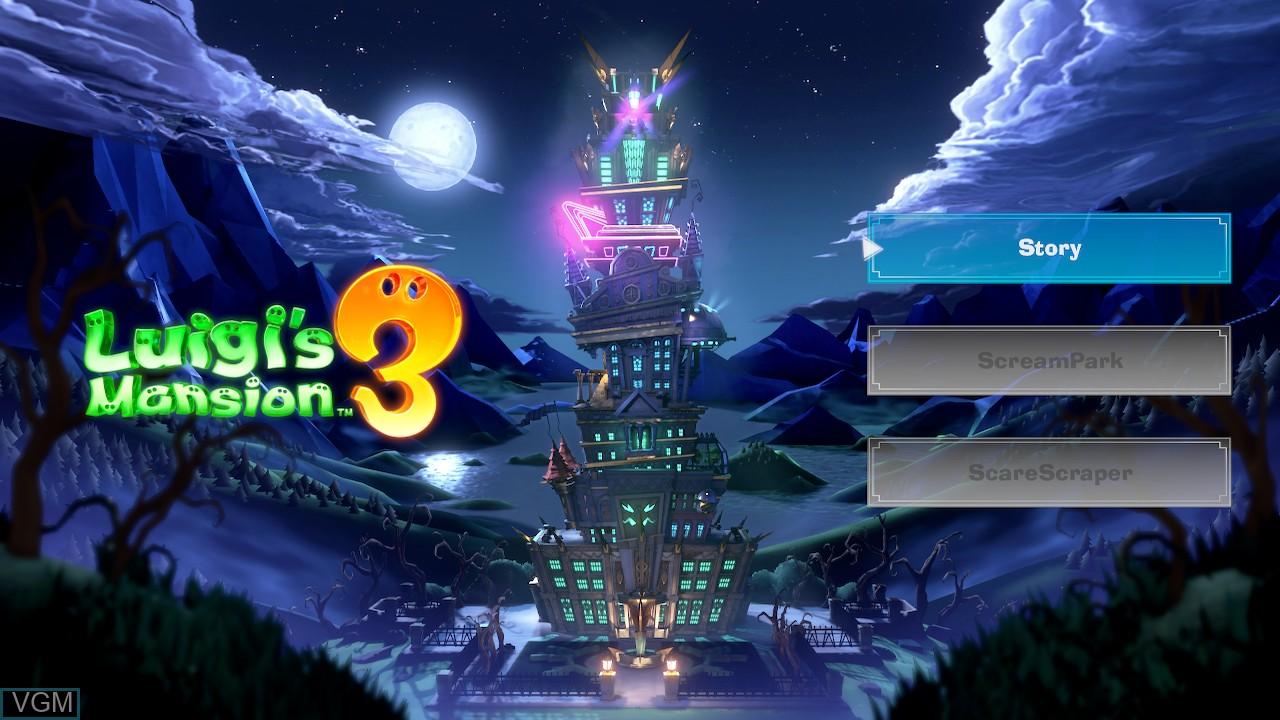 Image du menu du jeu Luigi's Mansion 3 sur Switch