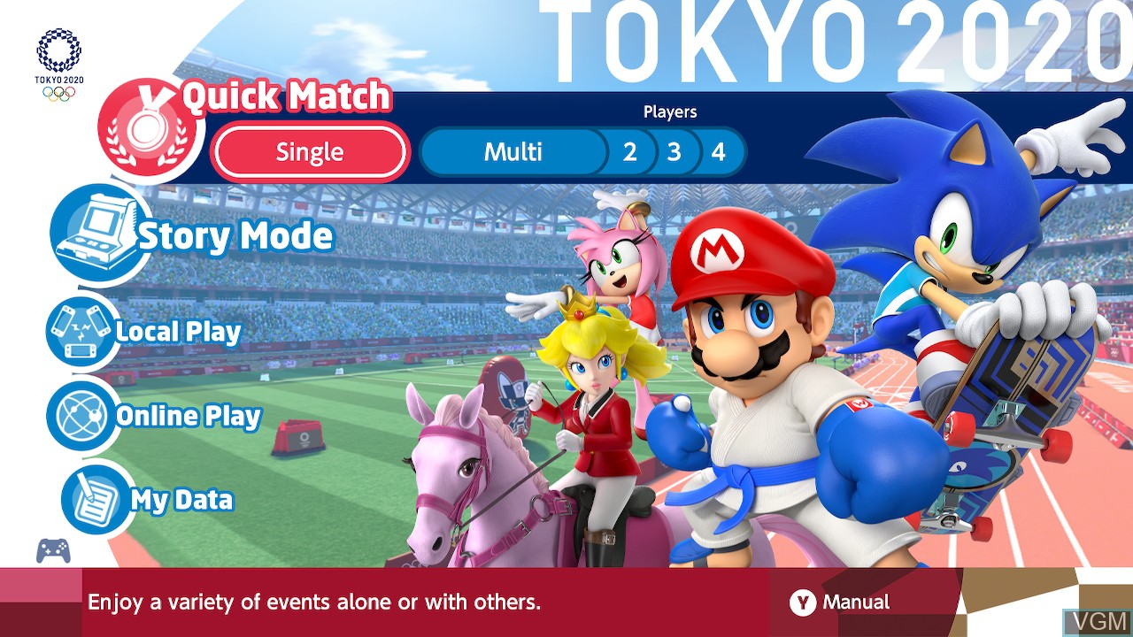 Image du menu du jeu Mario & Sonic at the Olympic Games - Tokyo 2020 sur Switch