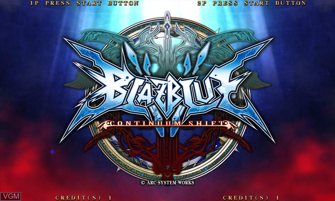 Image de l'ecran titre du jeu BlazBlue - Continuum Shift sur Taito Type X