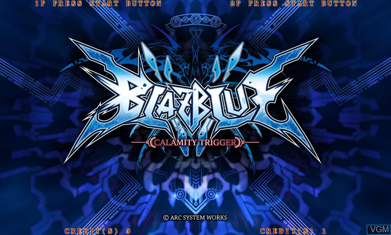 Image de l'ecran titre du jeu BlazBlue - Calamity Trigger sur Taito Type X