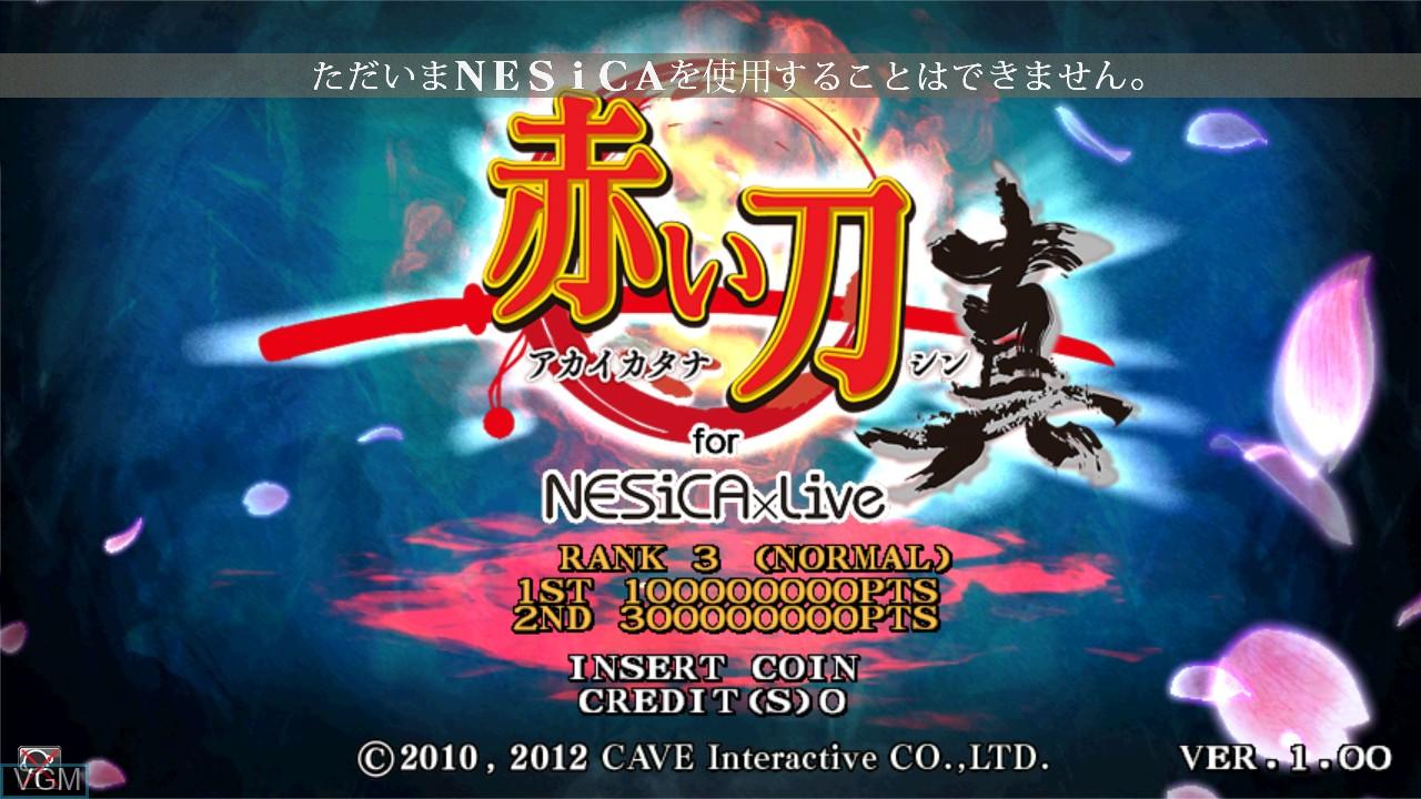 Image de l'ecran titre du jeu Akai Katana Shin sur Taito Type X