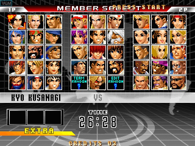 Image du menu du jeu King of Fighters 98, The - Ultimate Match sur Taito Type X