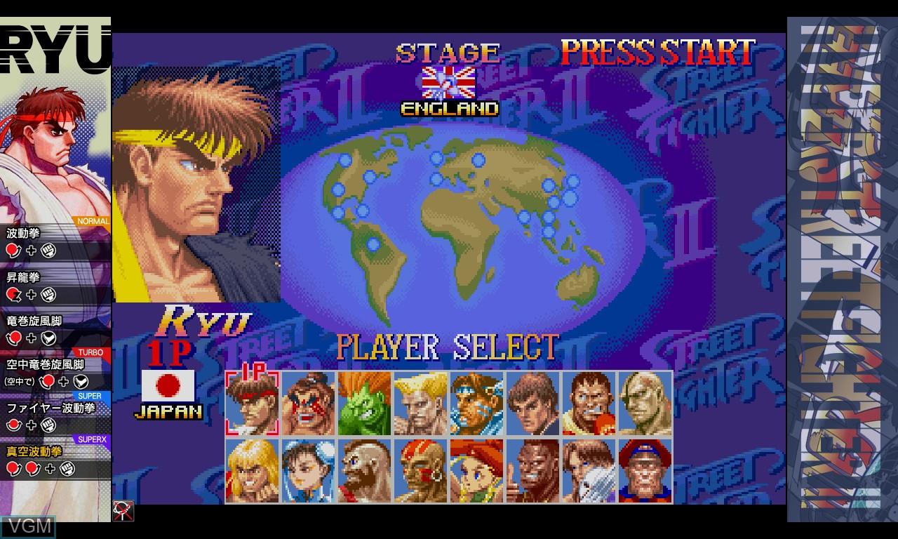 Image du menu du jeu Hyper Street Fighter II - The Anniversary Edition sur Taito Type X