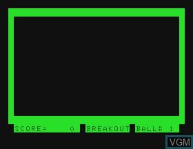 Image de l'ecran titre du jeu Breakout sur Tandy MC10