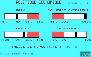 Image in-game du jeu Politique Economique sur Thomson MO5