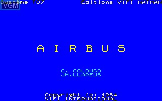 Image de l'ecran titre du jeu Airbus sur Thomson TO7