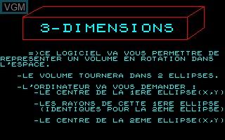 Image de l'ecran titre du jeu 3-Dimensions sur Thomson TO7