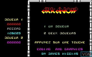 Image de l'ecran titre du jeu Arkanoid sur Thomson TO7
