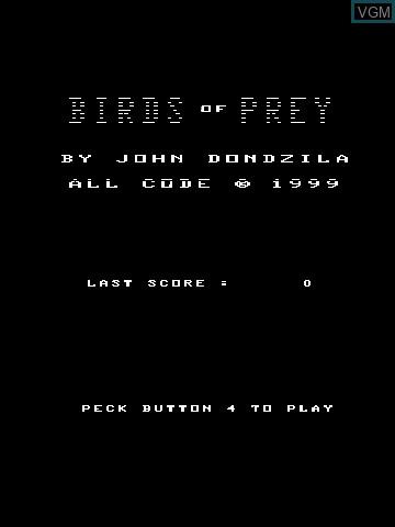 Image de l'ecran titre du jeu Birds of Prey by John Dondzila sur MB Vectrex