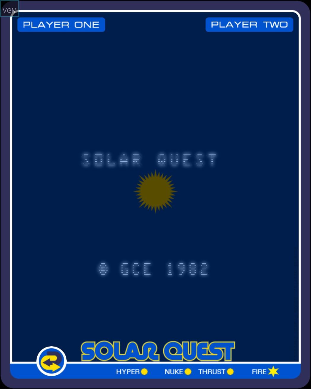 Image de l'ecran titre du jeu Solar Quest sur MB Vectrex