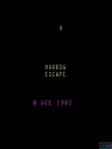 Image de l'ecran titre du jeu 3-D Narrow Escape sur MB Vectrex