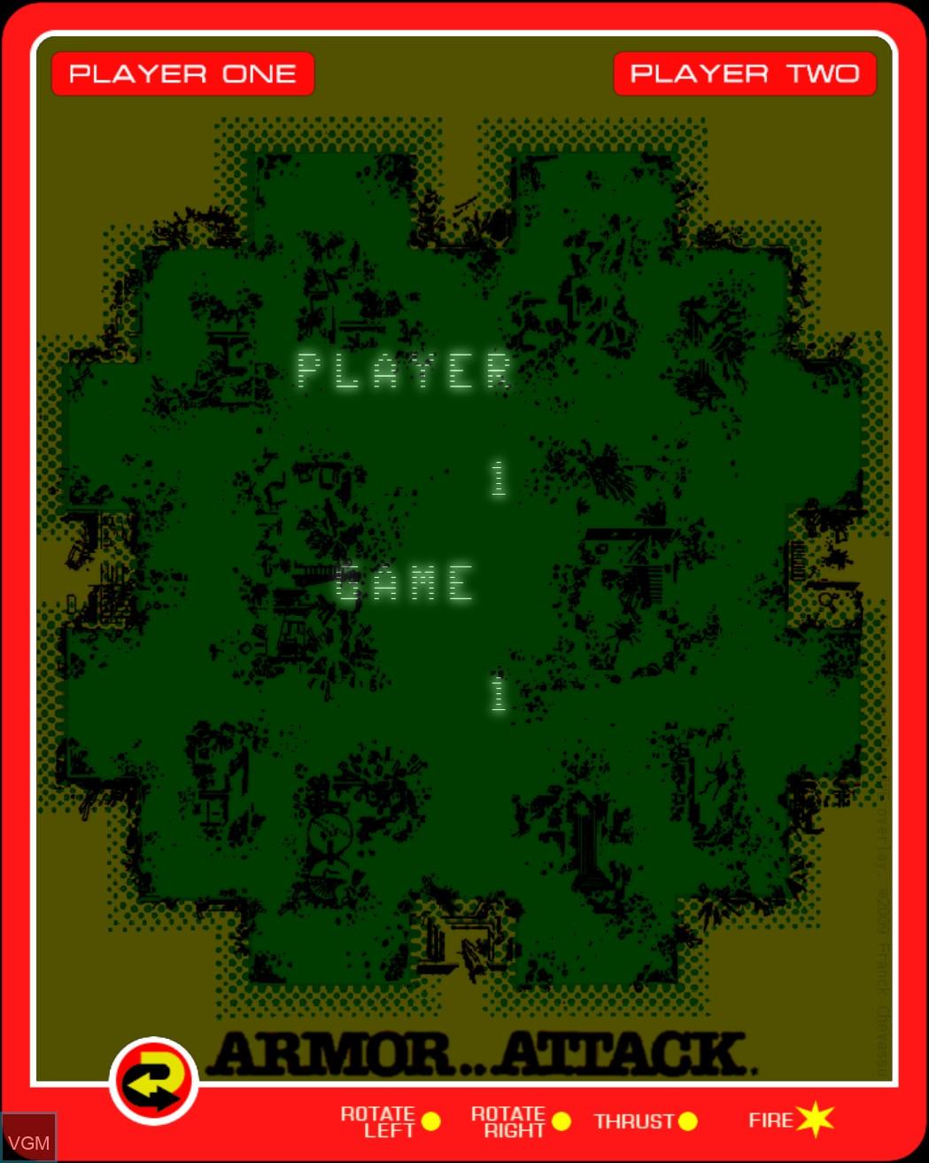 Image du menu du jeu Armor Attack sur MB Vectrex