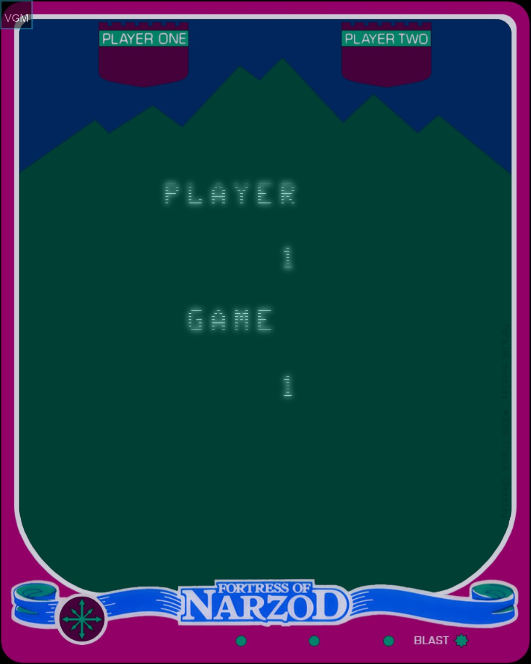 Image du menu du jeu Fortress of Narzod sur MB Vectrex
