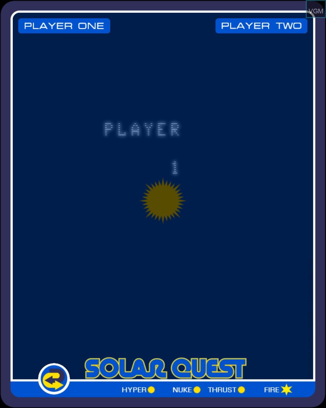 Image du menu du jeu Solar Quest sur MB Vectrex