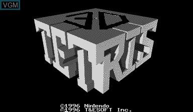 Image de l'ecran titre du jeu 3D Tetris sur Nintendo Virtual Boy