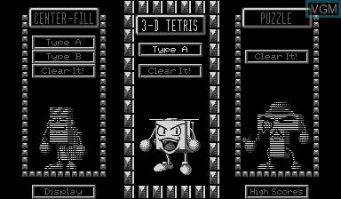 Image du menu du jeu 3D Tetris sur Nintendo Virtual Boy