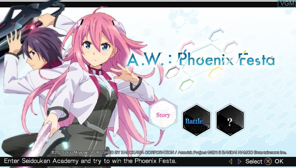 Image de l'ecran titre du jeu A.W. - Phoenix Festa sur Sony PS Vita