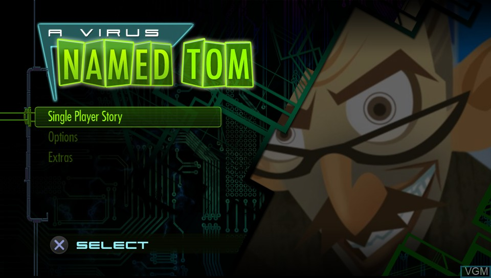 Image de l'ecran titre du jeu Virus Named TOM, A sur Sony PS Vita