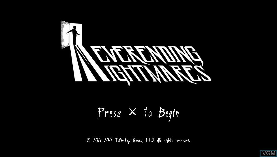 Image de l'ecran titre du jeu Neverending Nightmares sur Sony PS Vita