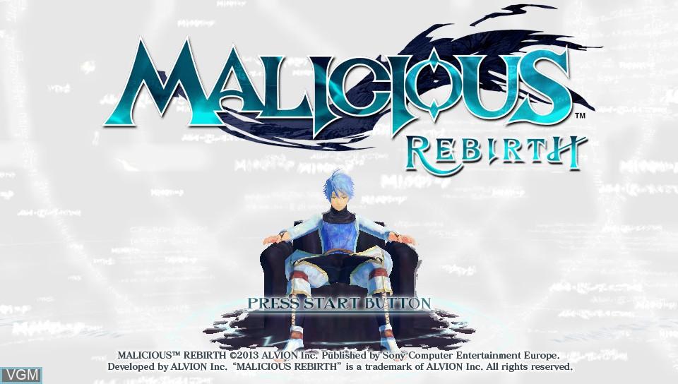 Image de l'ecran titre du jeu Malicious Rebirth sur Sony PS Vita