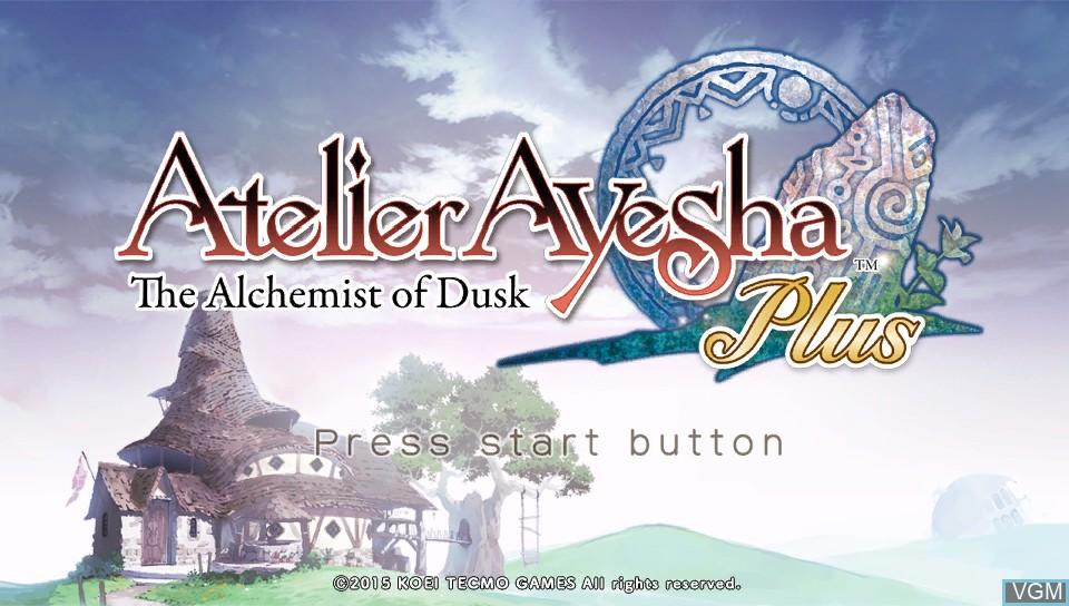 Image de l'ecran titre du jeu Atelier Ayesha Plus - The Alchemist of Dusk sur Sony PS Vita