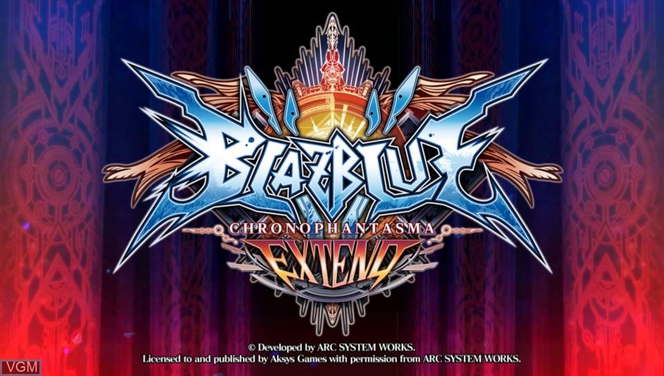 Image de l'ecran titre du jeu BlazBlue - Chrono Phantasma Extend sur Sony PS Vita