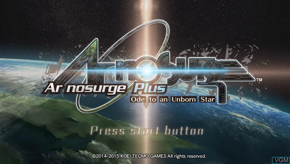 Image de l'ecran titre du jeu Ar nosurge Plus - Ode to an Unborn Star sur Sony PS Vita